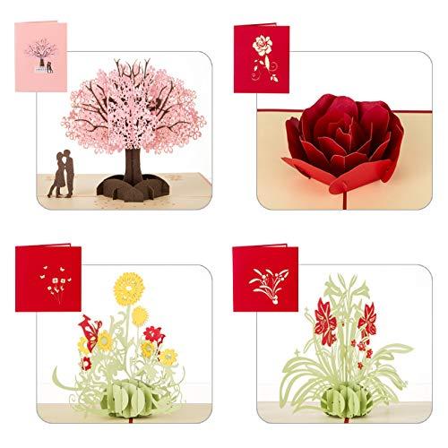 Kesote 3D Tarjetas de Felicitación en Estilo de 4 Flores Diferentes 3D Tarjetas de Felicitación para Aniversario,San Valentín, Día de Madre, Conjunto de 4