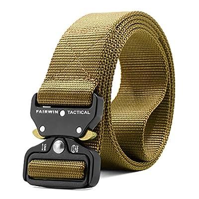 "Fairwin Tactical Belt, Military Style Webbing Riggers Web Belt Heavy-Duty Quick-Release Metal Buckle (Tan, S 30""-36"")"