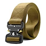 Fairwin Tactical Belt, Military Style Webbing Riggers Web Belt Heavy-Duty Quick-Release Metal Buckle (Tan, S 30'-36')