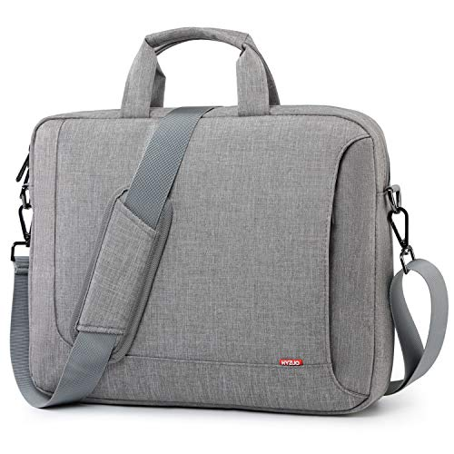 HYZUO 15-16 Zoll Laptop Schultertaschen Handtasche Aktentasche Umhängetasche Laptoptasche mit Gepäckriemen Kompatibel mit Dell XPS 15 17/Acer Aspire 5 15,6/MacBook Pro 16/HP Spectre X360 15, Hellgrau
