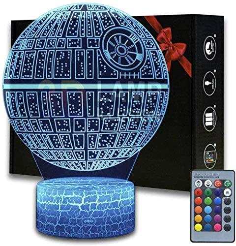 Regalo per 8 anni ragazzi Star Wars Morte Star 3D Luce notturna con telecomando 16 colori che cambiano la stanza da gioco Decor miglior regalo giocatore