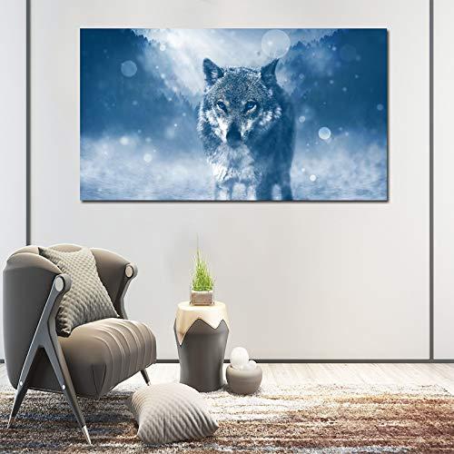 ganlanshu Moderne dekorative Malerei Leinwand Malerei Bild Wolf Tier Wohnzimmer dekorative Malerei rahmenlose Malerei 30cmX52cm Wandmalerei Malerei
