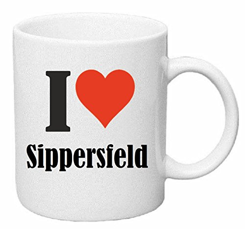 Kaffeetasse I Love Sippersfeld Keramik Höhe 9,5cm ⌀ 8cm in Weiß