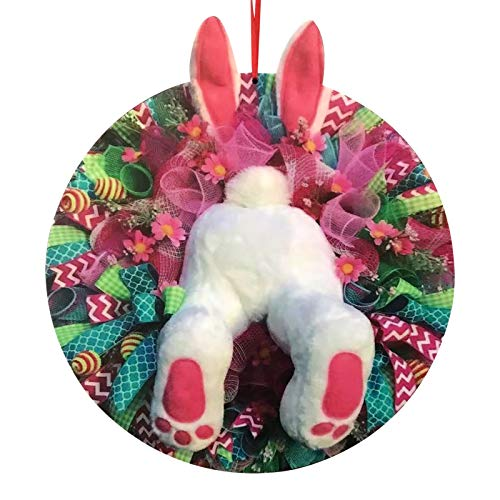 Decorazione per porta pasquale, corona pasquale con coniglio, ghirlanda pasquale, primavera all'aperto, da appendere, per il benvenuto (28 x 25 cm)