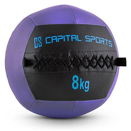 CapitalSports Wallba 8 Balón Medicinal de Cuero sintético (Peso 8 kg, Forro Exterior, Costuras resistententes, Superficie manejable, Esfera Ejercicios Gimnasia, Pelota Agarre Adecuado para entrenami