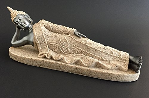 OMA Reclining Buddha Statue Sand Stone Buddha Figurine for Peace and Luck Buddha Home Decor Gift (Sand Stone/Gray)