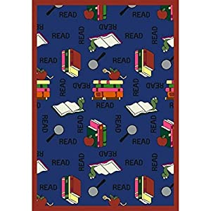 Joy Carpets Kid Essentials Language & Literacy Oval Bookworm Rug, Blue, 5'4″ x 7'8″