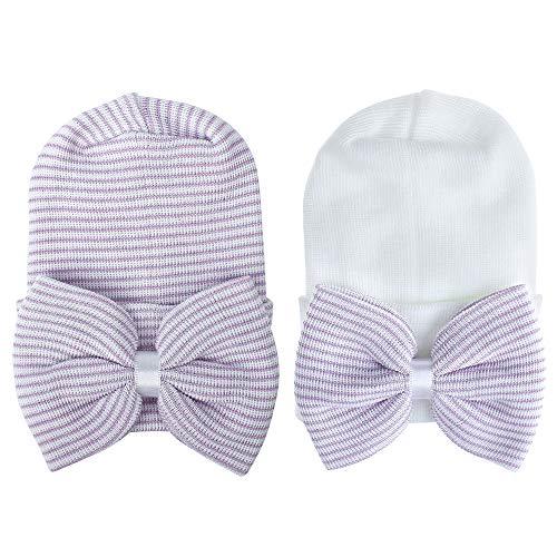 MASOCIO Gorro Bebe Recien Nacido 0-3 Meses Invierno Algodon Punto Gorros Sombrero Bebé con Bowknot Purpura Blanco (Paquete de 2)