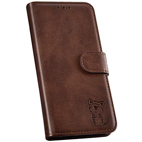 Ysimee Handyhülle kompatibel mit Samsung Galaxy S9 Plus Leder, Einfarbig Braun Schutzhülle Brieftasche mit Kartenfach e Katze Muster, Klappbar Stoßfest Kratzfest Hülle Flip Handy Tasche Schale