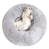 Sorlakar Calming Pet Bed for Medium and Large Dogs Cats,24'' Soft Shag Faux Fur Donut Cuddler Round Dog Bed Cat Cushion Bed Self Warming Autumn Winter Indoor Sleeping