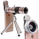 10 en 1 Viaje Negro 8X Telescopio Ojo de Gran Angular Macro Lente telefoto Mini tr/ípode Soporte para tel/éfono Lente de la c/ámara Conjunto Sunlera