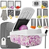 Aieruma Vegetable Chopper, 22-in-1 Pro Onion Chopper Food Cutter, 11 Stainless Steel Blades Food Slicer Dicer, Heavier Duty Multi Vegetable-Fruit-Cheese-Onion Chopper-Dicer-Kitchen Cuttert