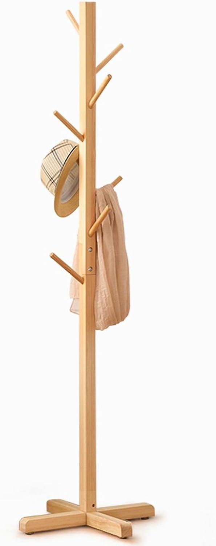 TIANTA- Solid Wood Coat Rack Living Room Bedroom Floor Coat Rack Clothes Hanger Hanger Home Furnishing (color   Wood color)