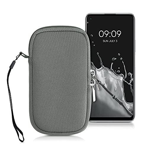 kwmobile Custodia in Neoprene con Zip per Smartphone M - 5,5' - Astuccio portacellulare a Sacchetto con Cerniera - Borsa Verticale - Grigio Metallizzato