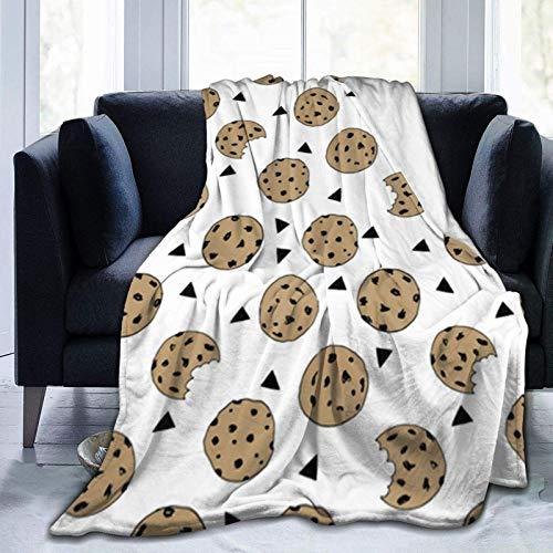 Fleece Throw Blanket Cookies Lebensmittel Chocolate Chip Biscuits Gedruckt Soft Warm Cosy Plush Mikrofaser Plüschdecke für Schlafzimmer Wohnzimmer Couch Bed Sofa Alle Jahreszeiten