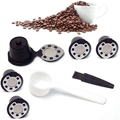 Wiederverwendbare Nespresso-Kapseln, 5 Stück, nachfüllbare Kapseln, 1 Tasse, Kaffee-Filter, umweltfreundlicher Edelstahl-Netzfilter für Nespresso-Maschinen mit Kaffeelöffel