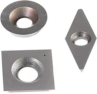 YUFUTOL 3pcs Tungsten Carbide Cutters Inserts Set for Wood Lathe Turning Tools(Include 15mm Square,16mm Round,28x10mm Diamond with Radius Point),Supplied with Screws