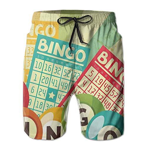 Men's Swim Trunks Board Shorts Beach Pants Surfing Boardshorts,Bingo Game with Ball and Cards Pop Art Stylized Lottery Hobby Celebration Theme,Fancy Print Hawaiian Shorts Four Size,XL