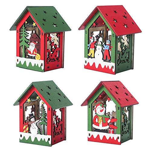 Queta 4PCS Luminosas Casitas de Madera Navidad, con Luz Blanca Cálida, Decoracion luminiscente de árbol de Navidad, con Patrón de Papá Noel y Muñeco de Nieve, para Decoración Colgantes de Navidad