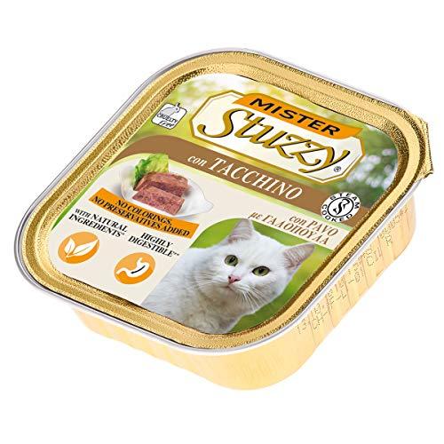 Stuzzy Mister, Comida húmeda para Gatos Adultos, Sabor Pavo, línea paté y Carne en trozos - Total 3,2 kg (32 tarrinas x 100 gr)