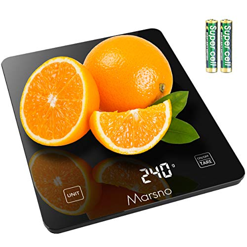 Marsno Digital Food Scale, 22lb Kitchen Scale, 4 Units LCD Display Food Weight Scale for Cooking/Baking in oz/lb:oz/g/ml, 3g/0.1oz Precise Graduation, Tempered Glass (Black)