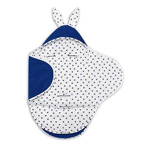 EliMeli baby dekbed | 100% wol | universeel voor babyschaal, autostoel, kinderwagen buggys en babybed | zeer hoge kwaliteit | ideaal voor de winter Navy Blue Hearts
