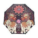 Umbrella Compact Rain Wind Repellent Umbrellas Vintage Mandala Elephant Peacocks Paisley Sun Protection