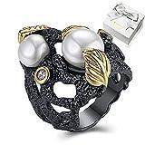 WANZIJING Weinlese Perlen Ring, simulierte Perlen Kristall CZ Ring Blatt Blume Ringe Schmuck für Frauen, 8