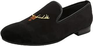 Bareskin Deer Head Design Embroidery Italian Cotton Velvet Slip-on Shoes for Men