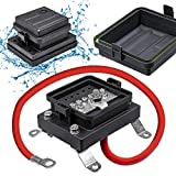 Waterproof Ground Power Distribution Terminal Block Battery Bus Bar [Max. 300V AC/48V DC] [IP65] [Positive/Negative] Insulated Busbar for 12V Automotive Auto Vehicle Marine Car Trailer RV Boat