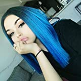 Ombre Blue Lace Front Wigs for Women Short Bob Synthetic Wig Heat Resistant Blue Wig with Middle Parting Dark Roots(12 Inch)