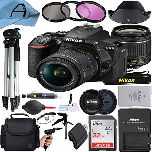 Nikon D5600 DSLR Camera 24.2MP Sensor with NIKKOR 18-55mm f/3.5-5.6G VR Lens, SanDisk 32GB Memory Card, Case, Tripod, 3 Pack Filters and A-Cell Accessory Bundle (Black)