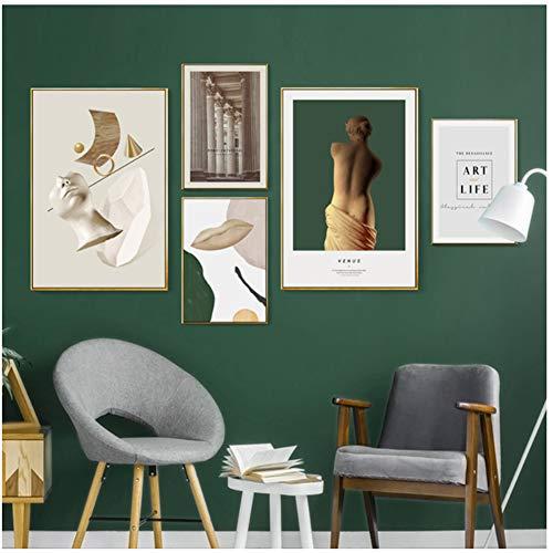 Abstracte Renaissance Venus Vintage canvas schilderijen Hedendaagse posters en prints Wall Art Pictures voor woonkamer Home Decor -40x60x2Pcscm 40x50x3Pcscm Geen lijst