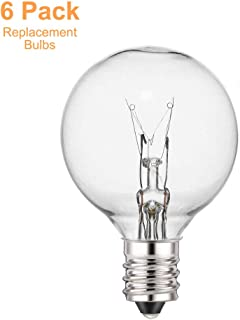 Guddl 6 pack 5 Watt G40 Outdoor Globe Replacement Bulbs for String Lights, Indoor/Outdoor Use, Clear Glass G40 Bulbs,Fits E12 and C7 Sockets