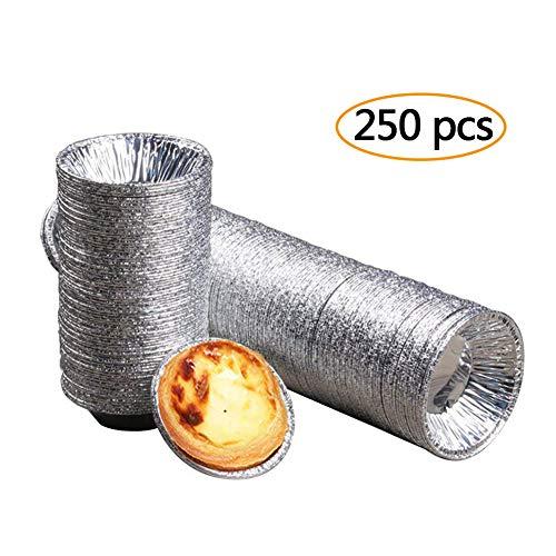Lot de 250 petits moules Scoolr - En aluminium - Pour tartelettes, tartes aux œufs, petits gâteaux, flans - Pour la pâtisserie