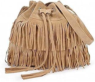 Wetieyi Lady Vintage Tassel Bucket Shoulder Bag Handbag (Beige)