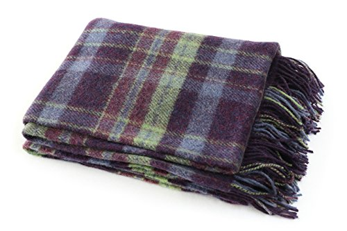 Biddy Murphy Plaid Wool Blanket Throw 100% Wool Soft 54' Wide x 72' Long Fringed Purple & Green Plaid Made in Ireland