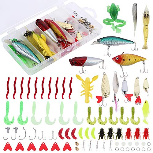 XTON 78Pcs Fishing Lures Kit Set for Bass, Trout, Salmon Including Frog Lures, Plastic Worms, Spinner Bait, Crank Bait, Jigs, Topwater Freshwater and Saltwater Lure with Tackle Box