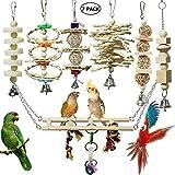 onebarleycorn - 7 Pezzi Giocattoli per Masticare a Pappagallo per Uccelli - Giocattoli in Gabbia per campanelli appesi in Legno Naturale Adatti per Piccoli parrocchetti