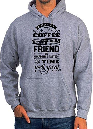 BlackMeow een kopje koffie gedeeld met een vriend is geluk smaak citaat slogan wit unisex hoodie