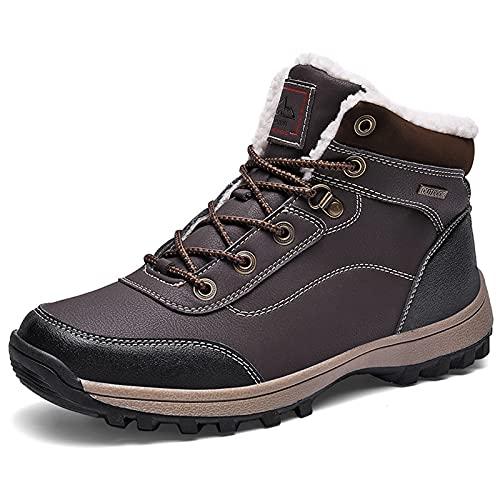 Sebasty Botas de Invierno para Hombres,Zapatos CáLidos para Caminar,Botas Deportivas Antideslizantes para Turistas,Adecuadas para Usar En Hielo y Nieve,Además de Pelusa en el Interior,Brown-43