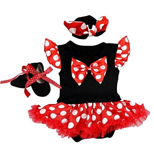 OBEEII Halloween Pagliaccetto Polka DOT per Bambina Neonata Body Tutine 3PCS Vestiti Romper Fascia Scarpe per Natale Festa Carnevale 0-3 Mesi