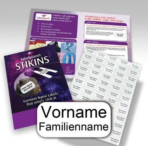90 Personalisierte Wäscheetiketten, STIKINS ® Label Planet®, Schulkleidung/Kleidung/Kleidungsetiketten, Namensstreifen für Kinder, neue Namensetiketten zum Aufkleben,