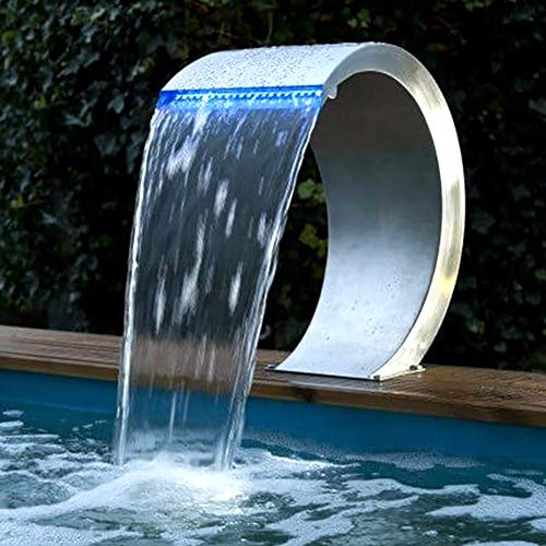 GonbObcxggr Wasserfall-Pool Springbrunnenkaskaden für Pools Gartenteich mit farbenfrohen Lichteffekten (400 * 200Mm)