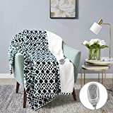 MP2 Heated Plush Sherpa Throw - Electric Blanket for Lap w/ 3 Heating Levels & 2 Hours Auto Shut Off, UL Certified EMF Radiation Safe, Machine Washable - 50'x 60', Green/White Geometric