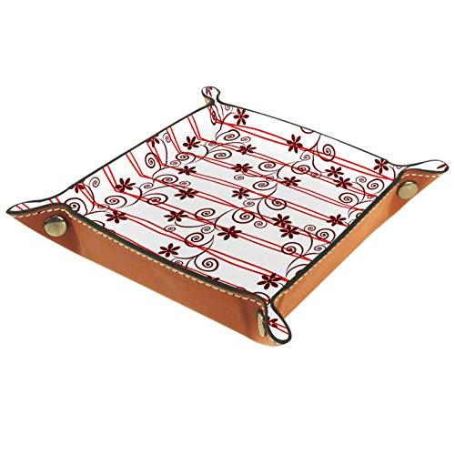AITAI Valet Tablett aus veganem Leder, Nachttisch-Organizer, Schreibtisch-Aufbewahrung-Teller, Catchall, rote edle Blumen