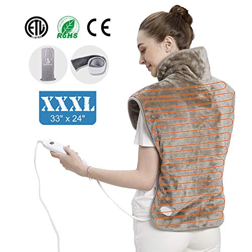 heating pad,heating pads for back pain,heating pad for neck and shoulders Pain Relief,Extra Large, 2-hours Auto Shut Off, Six Heat Settings, Up to 155 Fahrenheit, Machine-Washable, Micro Plush/Soft To