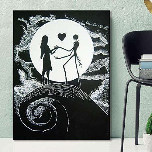WJY Pesadilla Antes de Navidad Jack y Sally Carteles de Lienzo Impresiones Arte de la Pared Pintura Imagen Decorativa Sala de Estar Decoración del hogar 60 cm x 90 cm Sin Marco