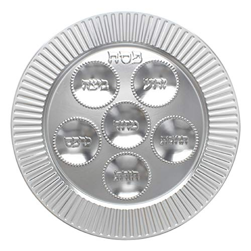 "Passover Plastic Seder plate - 13"" Traditional Silver Disposable plates for Pesach Table (1)"