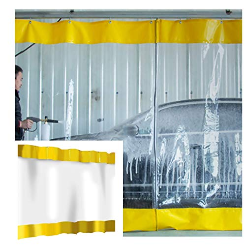 MTYLX Large Heavy Duty Tarpaulin Clear Rainproof,Tarpaulin with Metal Perforations, Outdoor Waterproof Curtain, Thicken 0.5Mm PVC, for Porch/Factory,Yellow,1.2X1.8M